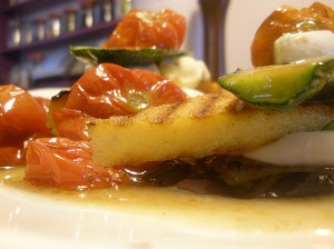 grilled polenta, courgette, aubergine, mozzarella and basil with roasted cherry tomatoes